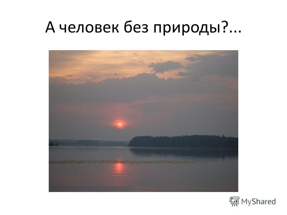 А человек без природы?...