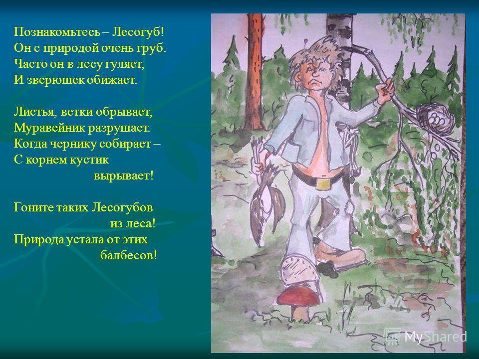 Познакомьтесь – Лесогуб! Он с природой очень груб. Часто он в лесу гуляет, И зверюшек обижает. Листья, ветки обрывает, Муравейник разрушает. Когда чернику собирает – С корнем кустик вырывает! Гоните таких Лесогубов из леса! Природа устала от этих бал