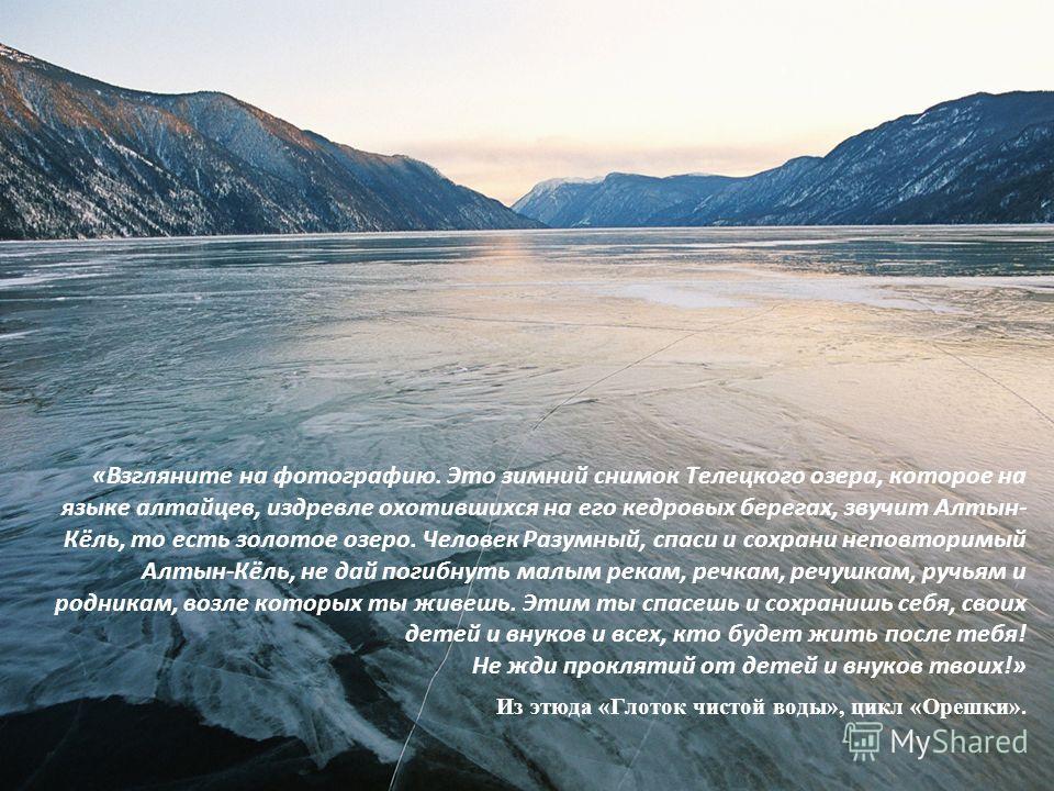 «Взгляните на фотографию. Это зимний снимок Телецкого озера, которое на языке алтайцев, издревле охотившихся на его кедровых берегах, звучит Алтын- Кёль, то есть золотое озеро. Человек Разумный, спаси и сохрани неповторимый Алтын-Кёль, не дай погибну