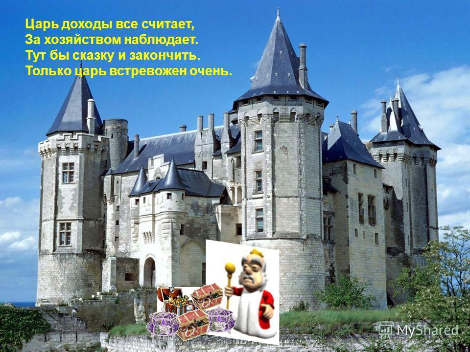 Царь доходы все считает, За хозяйством наблюдает. Тут бы сказку и закончить. Только царь встревожен очень.