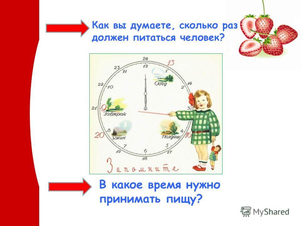 Как вы думаете, сколько раз должен питаться человек? В какое время нужно принимать пищу?