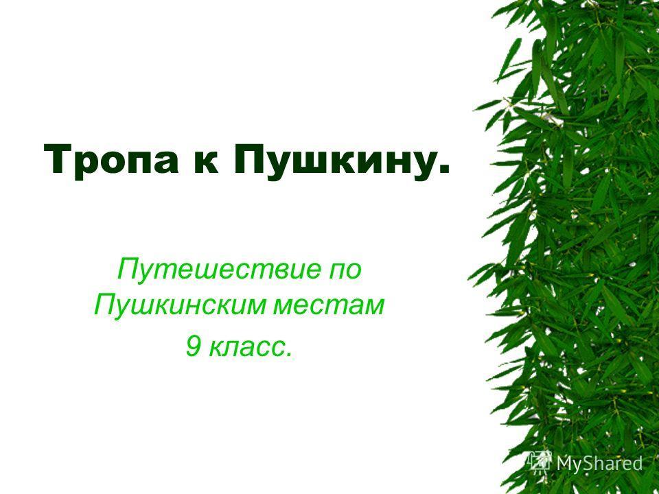 Тропа к Пушкину. Путешествие по Пушкинским местам 9 класс.