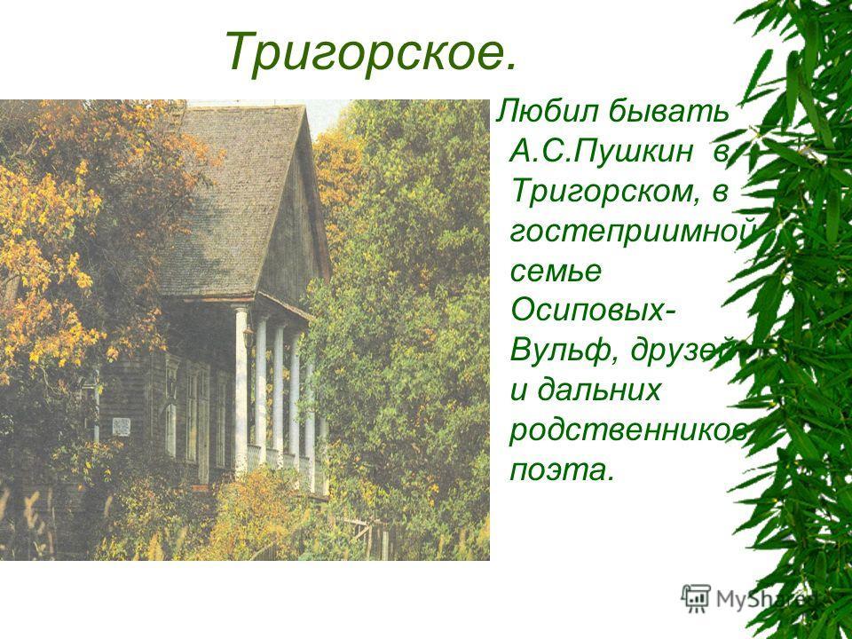 Тригорское. Любил бывать А.С.Пушкин в Тригорском, в гостеприимной семье Осиповых- Вульф, друзей и дальних родственников поэта.