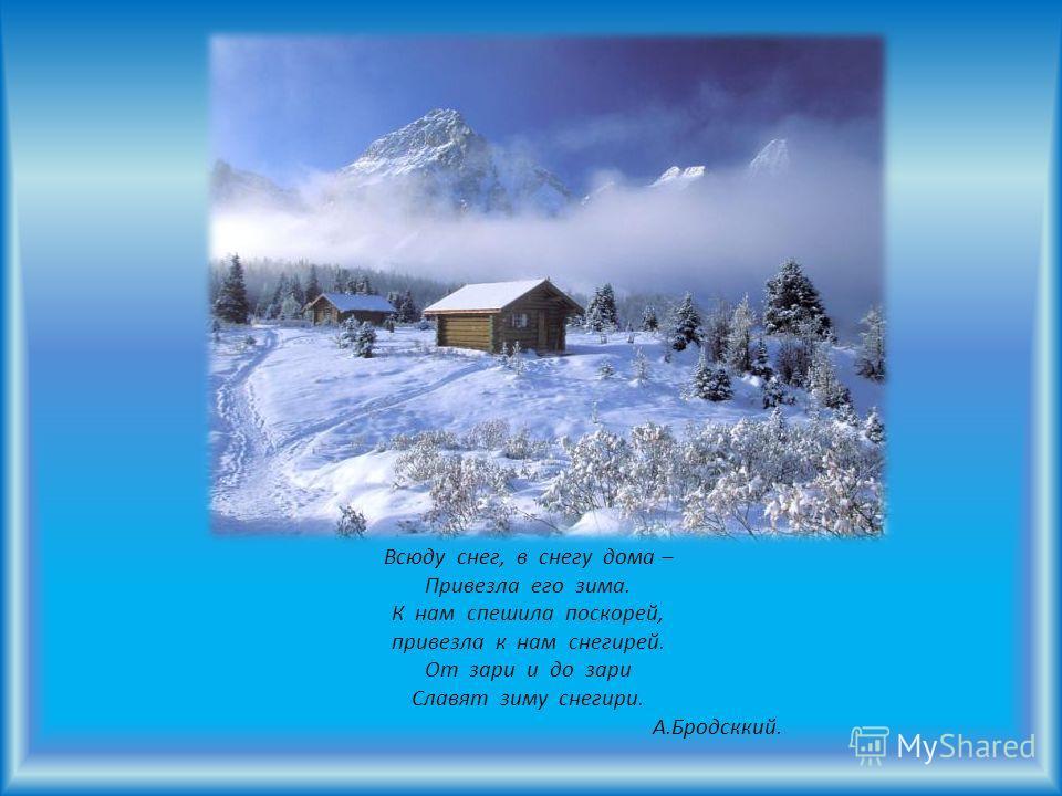 Всюду снег, в снегу дома – Привезла его зима. К нам спешила поскорей, привезла к нам снегирей. От зари и до зари Славят зиму снегири. А.Бродсккий.
