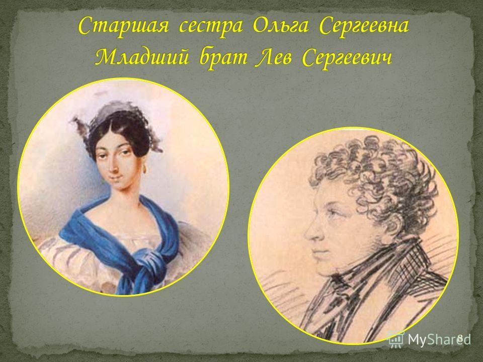 Мать поэта была остроумна, хороша собой. Она приходилась внучкой арапу Петра I, впоследствии русскому генералу Ганнибалу. 7