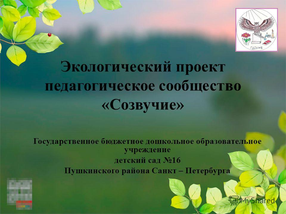 Экологический проект педагогическое сообщество «Созвучие» Государственное бюджетное дошкольное образовательное учреждение детский сад 16 Пушкинского района Санкт – Петербурга