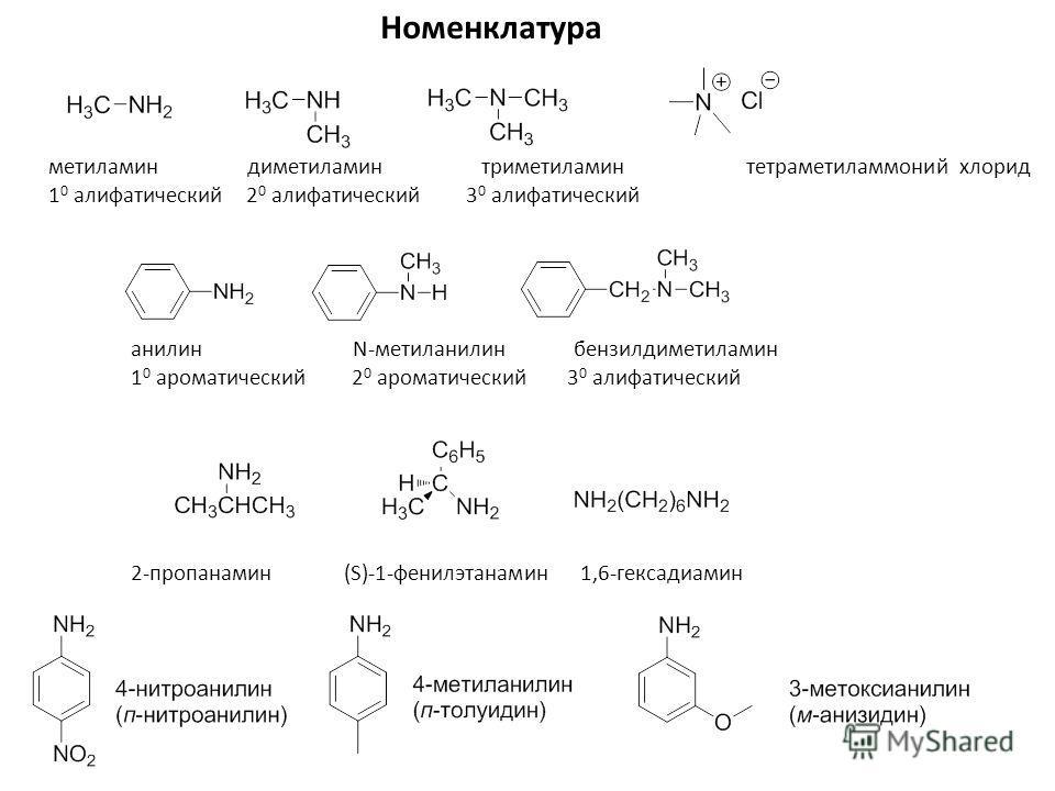 Номенклатура метиламин диметиламин триметиламин тетраметиламмоний хлорид 1 0 алифатический 2 0 алифатический 3 0 алифатический 2-пропанамин (S)-1-фенилэтанамин 1,6-гексадиамин анилин N-метиланилин бензилдиметиламин 1 0 ароматический 2 0 ароматический
