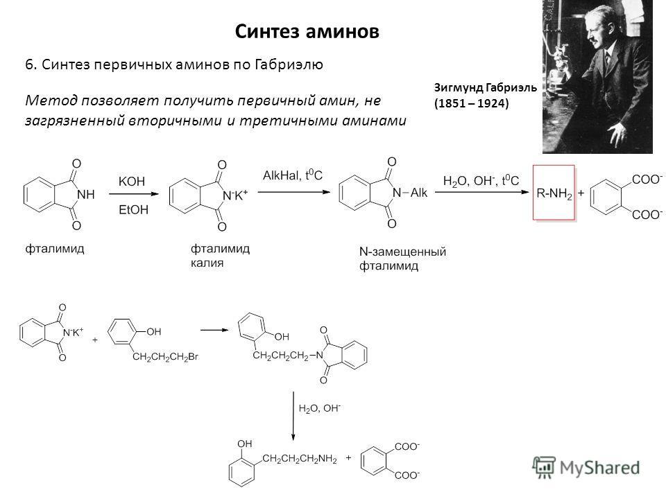 Синтез аминов 6. Синтез первичных аминов по Габриэлю Зигмунд Габриэль (1851 – 1924) Метод позволяет получить первичный амин, не загрязненный вторичными и третичными аминами