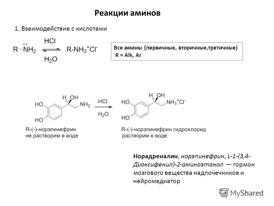 Реакции аминов 1. Взаимодействие с кислотами Все амины (первичные, вторичные,третичные) R = Alk, Ar Норадреналин, норэпинефрин, L-1-(3,4- Диоксифенил)-2-аминоэтанол гормон мозгового вещества надпочечников и нейромедиатор