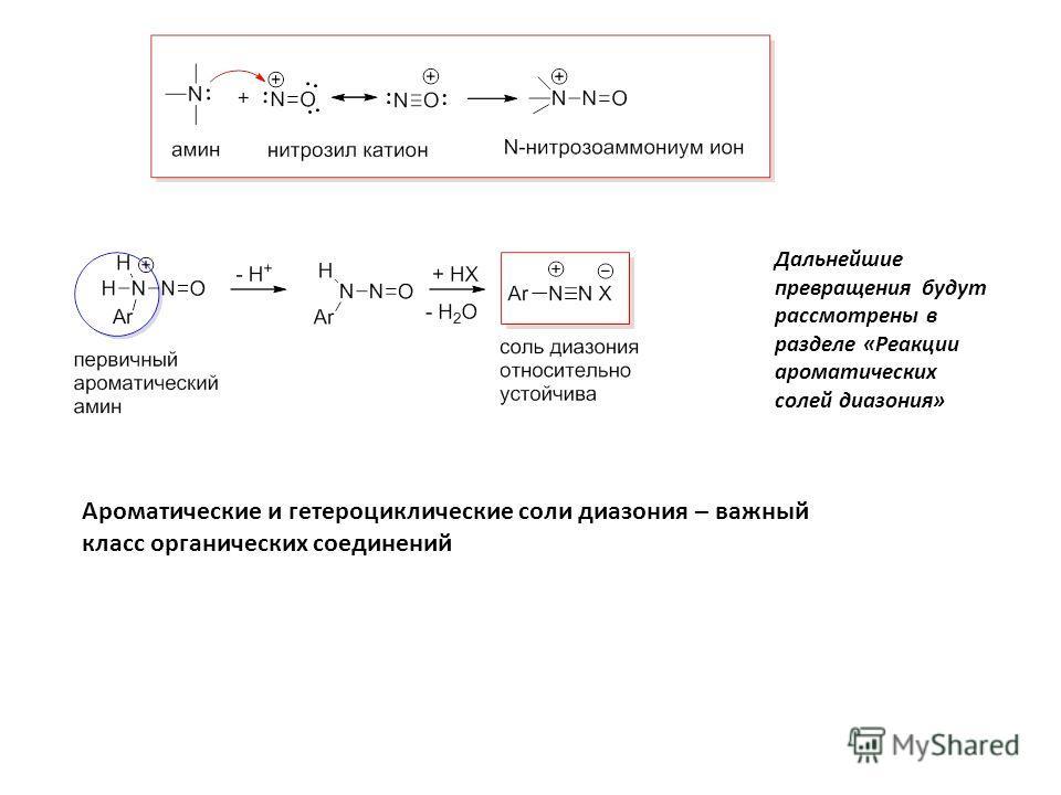 Дальнейшие превращения будут рассмотрены в разделе «Реакции ароматических солей диазония» Ароматические и гетероциклические соли диазония – важный класс органических соединений