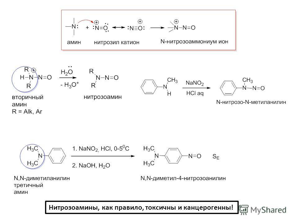 Нитрозоамины, как правило, токсичны и канцерогенны!