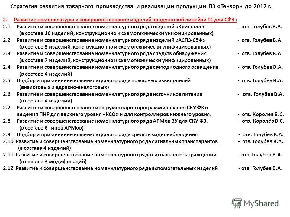Стратегия развития товарного производства и реализации продукции ПЗ «Тензор» до 2012 г. 2.Развитие номенклатуры и совершенствование изделий продуктовой линейки ТС для СФЗ : 2.1 Развитие и совершенствование номенклатурного ряда изделий «Кристалл» - от