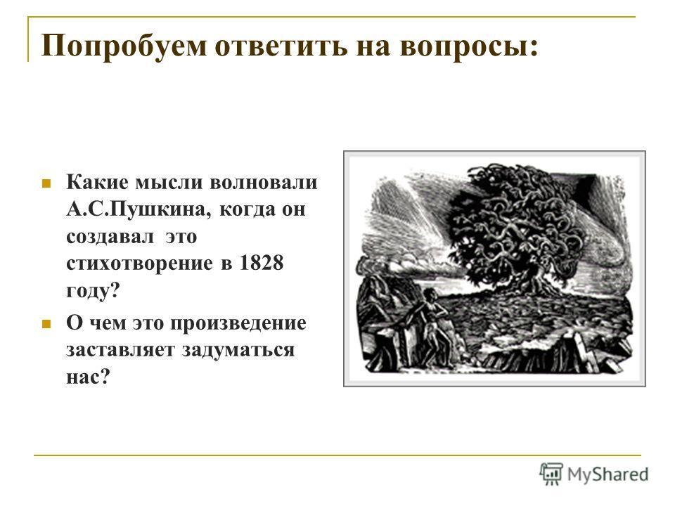 Попробуем ответить на вопросы: Какие мысли волновали А.С.Пушкина, когда он создавал это стихотворение в 1828 году? О чем это произведение заставляет задуматься нас?
