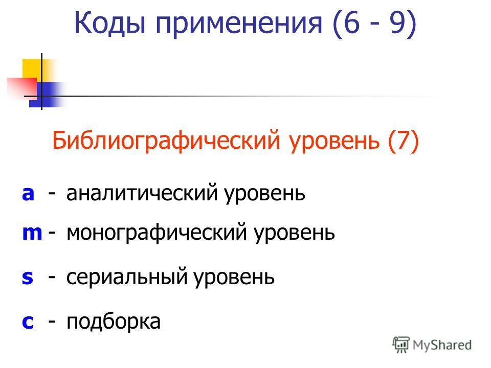 Коды применения (6 - 9) Библиографический уровень (7) a-аналитический уровень m-монографический уровень s-сериальный уровень c-подборка