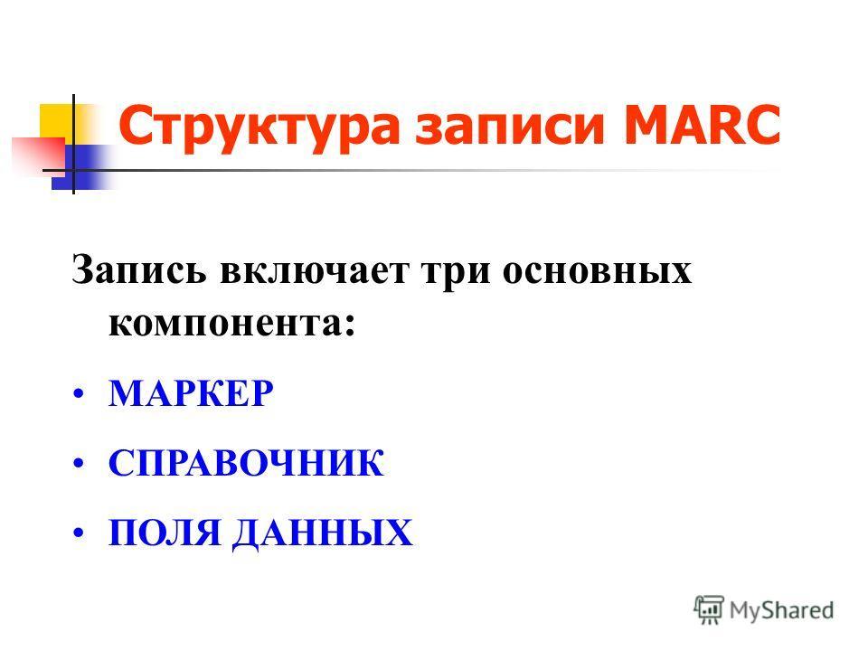Структура записи MARC Запись включает три основных компонента: МАРКЕР СПРАВОЧНИК ПОЛЯ ДАННЫХ