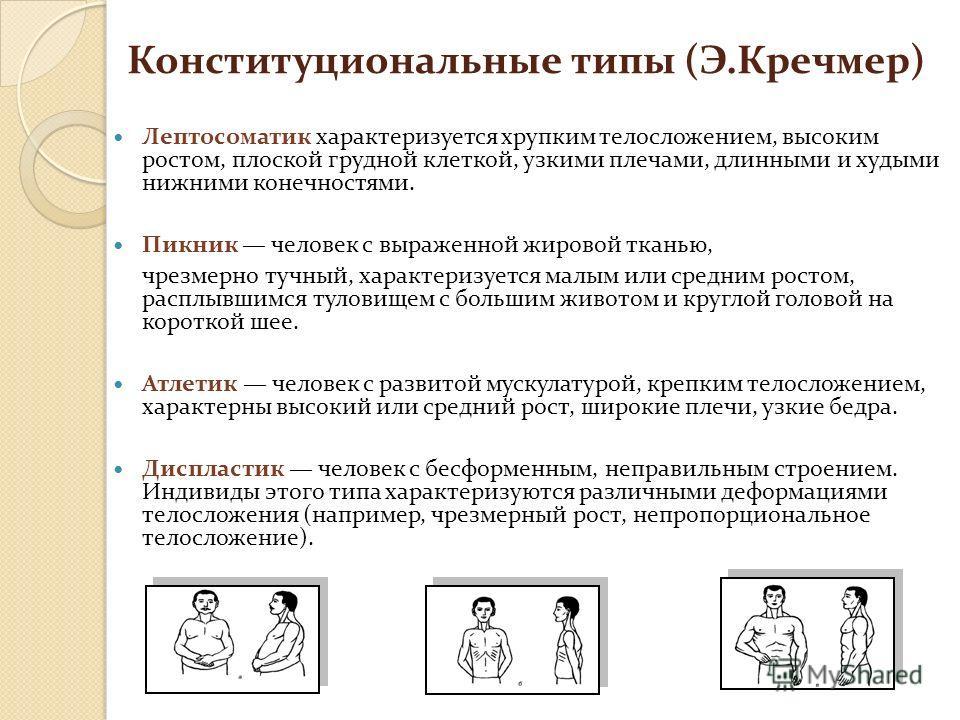 Конституциональные типы (Э.Кречмер) Лептосоматик характеризуется хрупким телосложением, высоким ростом, плоской грудной клеткой, узкими плечами, длинными и худыми нижними конечностями. Пикник человек с выраженной жировой тканью, чрезмерно тучный, хар