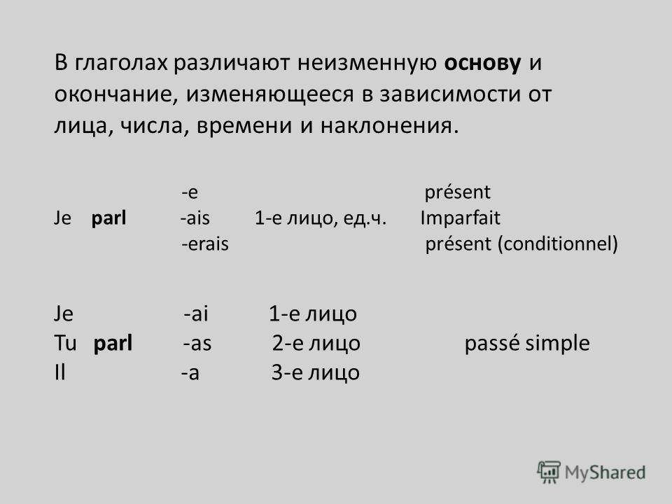 -e présent Je parl -ais 1-е лицо, ед.ч. Imparfait -erais présent (conditionnel) Je -ai 1-е лицо Tu parl -as 2-е лицо passé simple Il -a 3-е лицо В глаголах различают неизменную основу и окончание, изменяющееся в зависимости от лица, числа, времени и