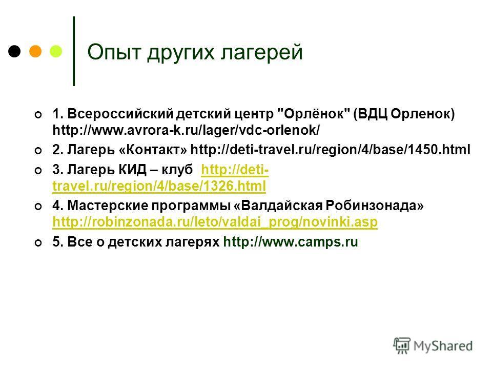 Опыт других лагерей 1. Всероссийский детский центр
