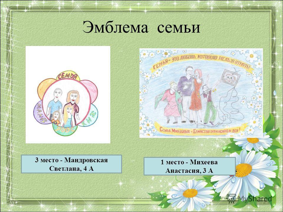 Эмблема семьи 1 место - Михеева Анастасия, 3 А 3 место - Мандровская Светлана, 4 А