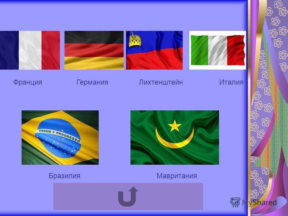 Франция Германия Лихтенштейн Италия Бразилия Мавритания