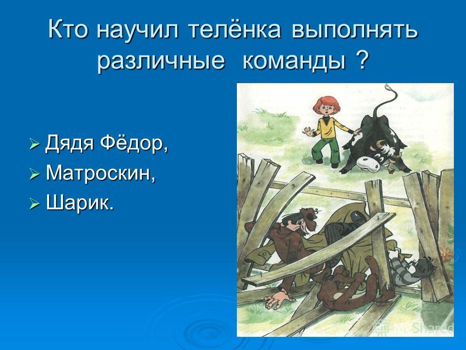 Кто научил телёнка выполнять различные команды ? Дядя Фёдор, Дядя Фёдор, Матроскин, Матроскин, Шарик. Шарик.