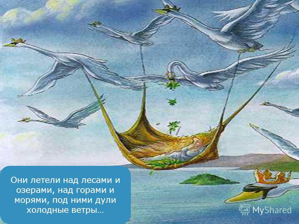 Они летели над лесами и озерами, над горами и морями, под ними дули холодные ветры…