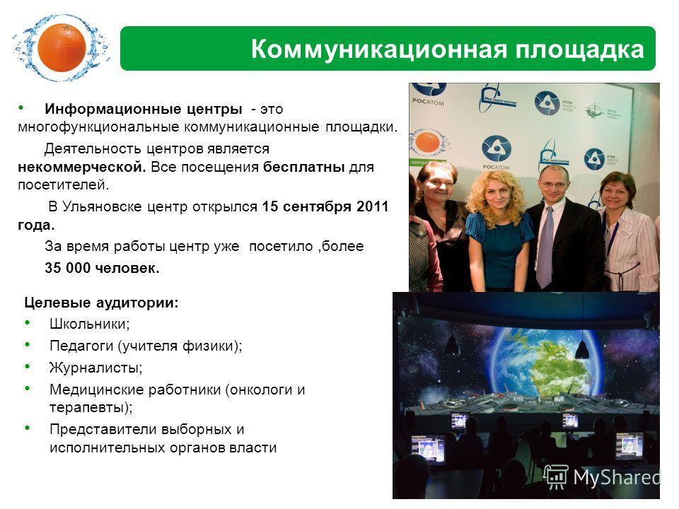 Коммуникационная площадка Информационные центры - это многофункциональные коммуникационные площадки. Деятельность центров является некоммерческой. Все посещения бесплатны для посетителей. В Ульяновске центр открылся 15 сентября 2011 года. За время ра