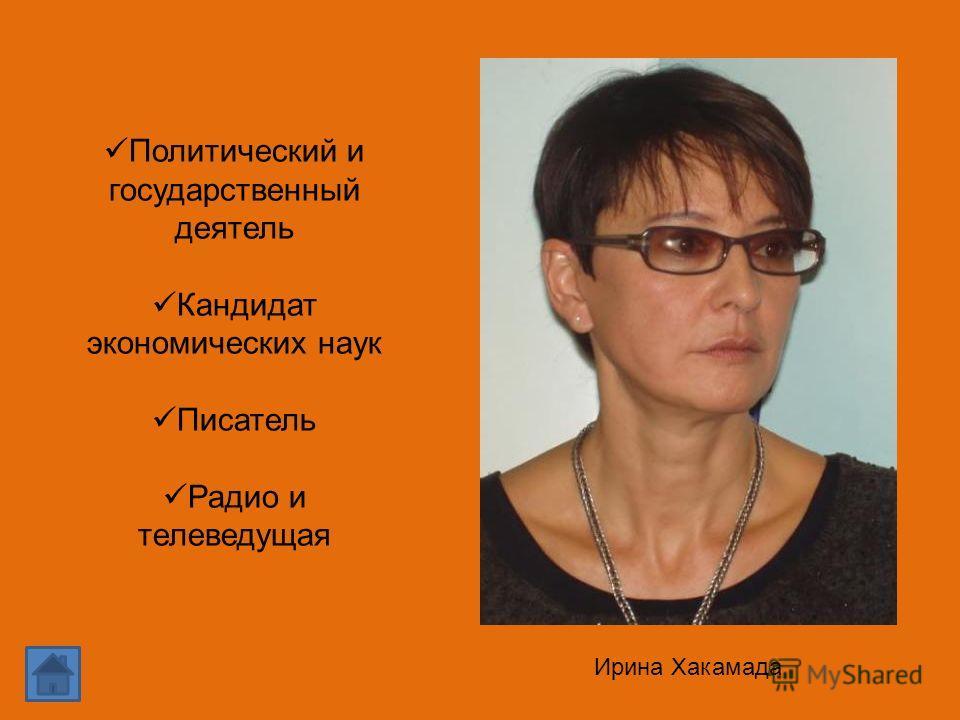 Ирина Хакамада Политический и государственный деятель Кандидат экономических наук Писатель Радио и телеведущая