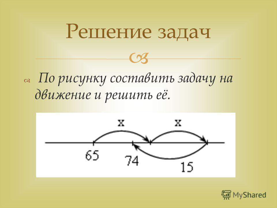 По рисунку составить задачу на движение и решить её. Решение задач