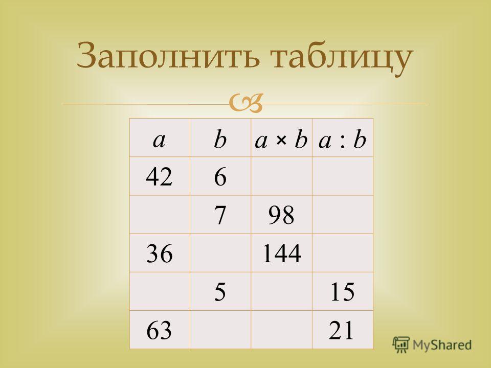 а ba × ba × ba : b 426 798 36 144 5 15 63 21 Заполнить таблицу