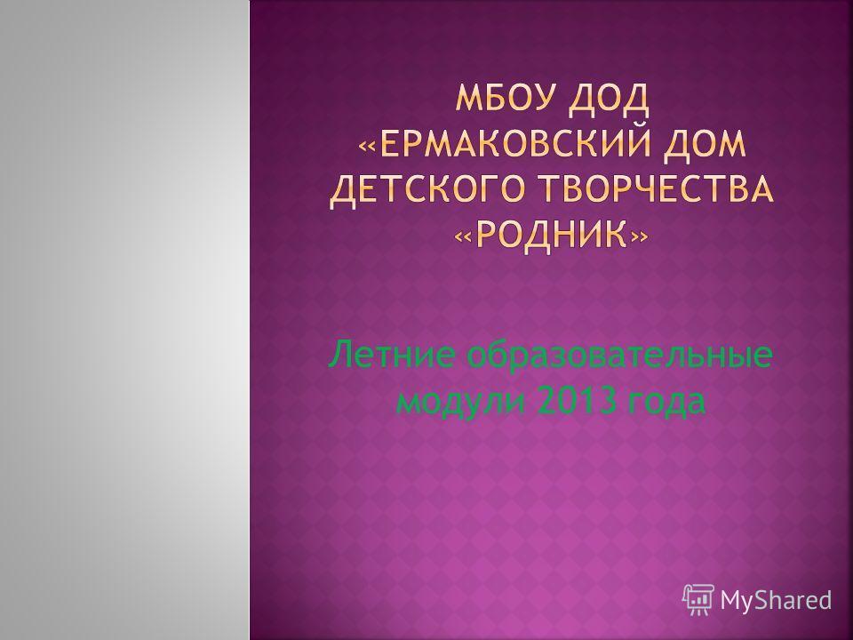 Летние образовательные модули 2013 года