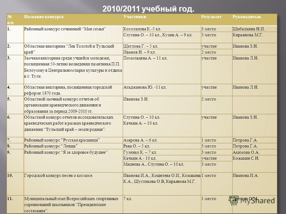 2010/2011 учебный год.