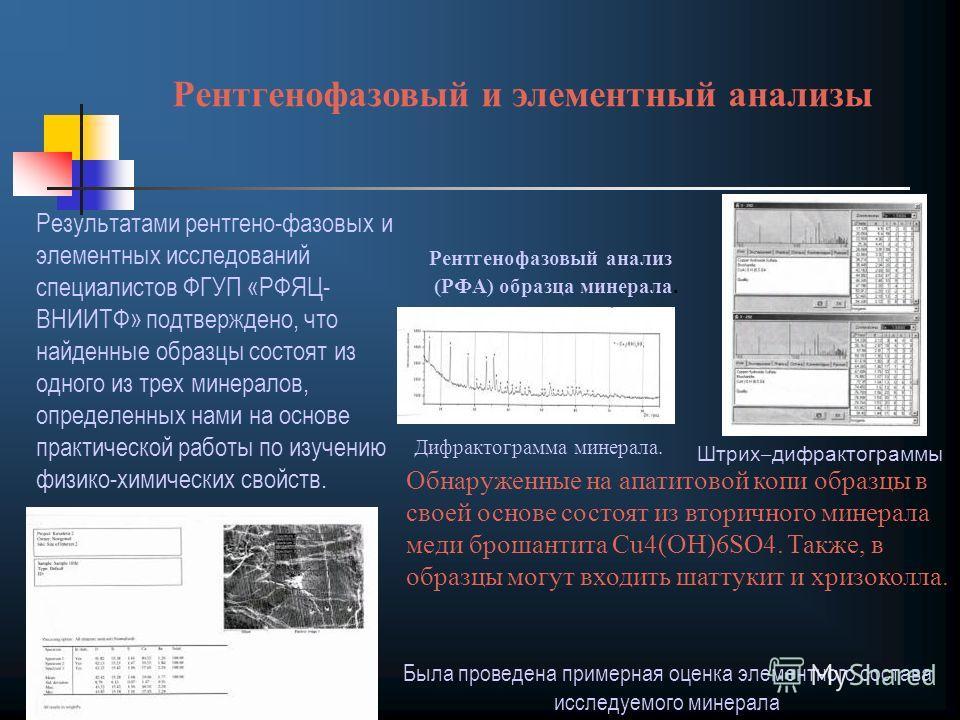 Результатами рентгено-фазовых и элементных исследований специалистов ФГУП «РФЯЦ- ВНИИТФ» подтверждено, что найденные образцы состоят из одного из трех минералов, определенных нами на основе практической работы по изучению физико-химических свойств. Р
