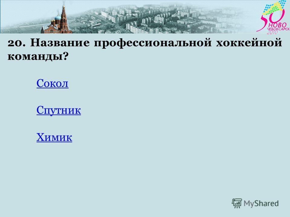 20. Название профессиональной хоккейной команды? Сокол Спутник Химик
