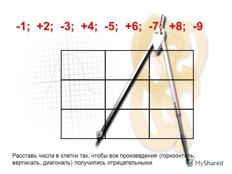 -1; +2; -3; +4; -5; +6; -7; +8; -9 Расставь числа в клетки так, чтобы все произведения (горизонталь, вертикаль, диагональ) получились отрицательными