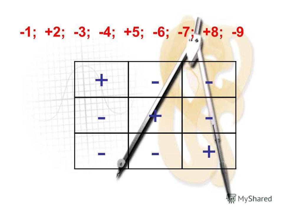 -1; +2; -3; -4; +5; -6; -7; +8; -9 +-- -+- --+