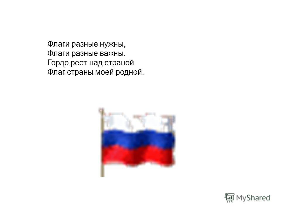 Флаги разные нужны, Флаги разные важны. Гордо реет над страной Флаг страны моей родной.