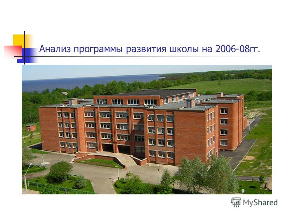 Анализ программы развития школы на 2006-08гг.