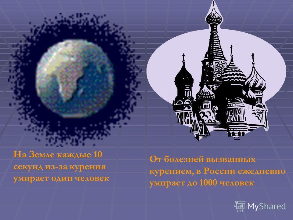 На Земле каждые 10 секунд из-за курения умирает один человек От болезней вызванных курением, в России ежедневно умирает до 1000 человек