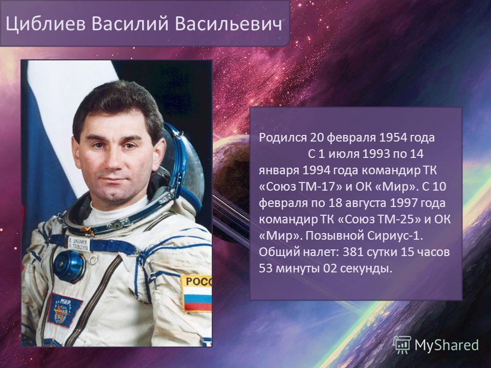 Циблиев Василий Васильевич Родился 20 февраля 1954 года С 1 июля 1993 по 14 января 1994 года командир ТК «Союз ТМ-17» и ОК «Мир». С 10 февраля по 18 августа 1997 года командир ТК «Союз ТМ-25» и ОК «Мир». Позывной Сириус-1. Общий налет: 381 сутки 15 ч