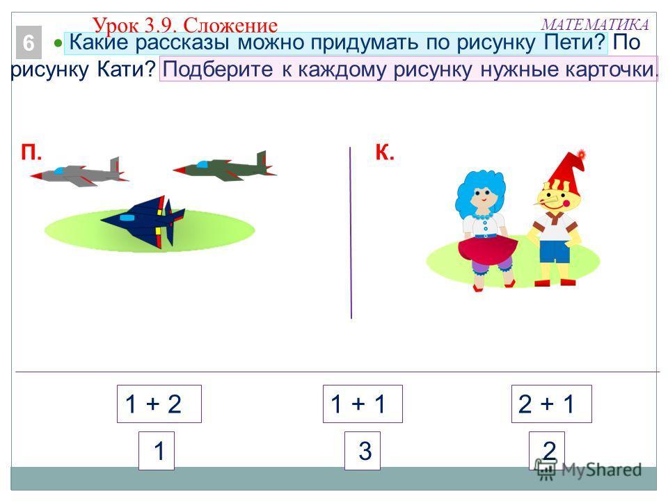 МАТЕМАТИКА 1 + 21 + 12 + 1 2 3 1 Какие рассказы можно придумать по рисунку Пети? По рисунку Кати? Подберите к каждому рисунку нужные карточки. 6 К.П. Урок 3.9. Сложение