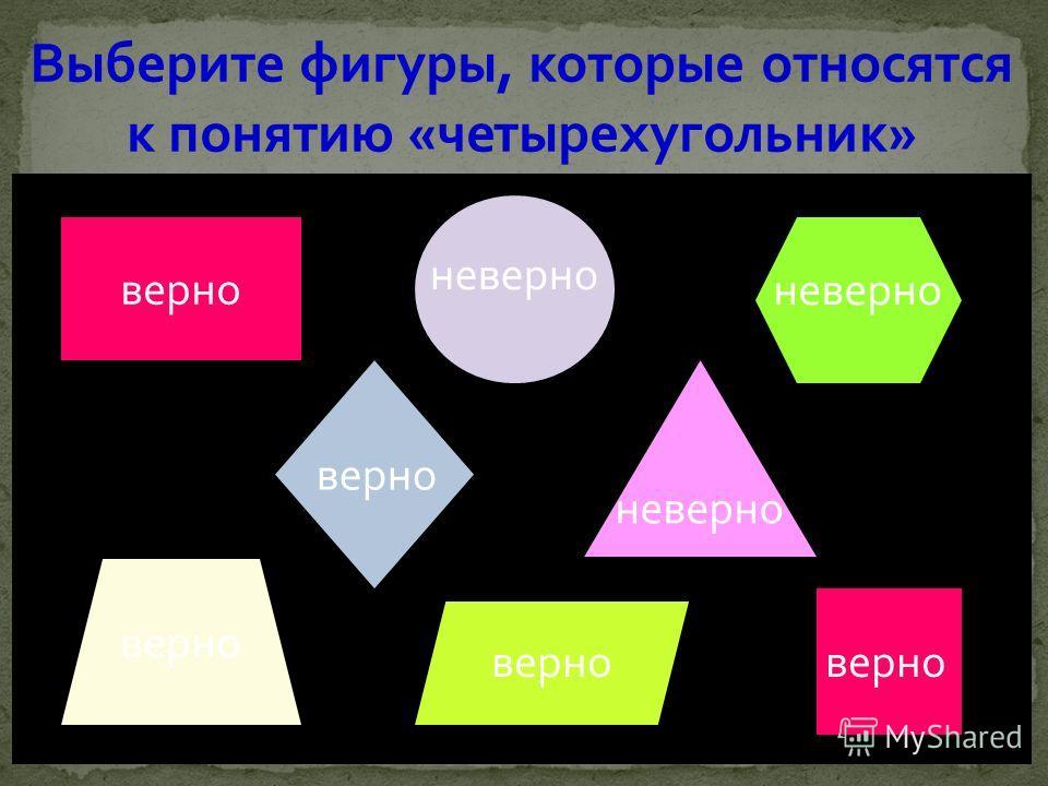 Выберите фигуры, которые относятся к понятию «четырехугольник» верно неверно