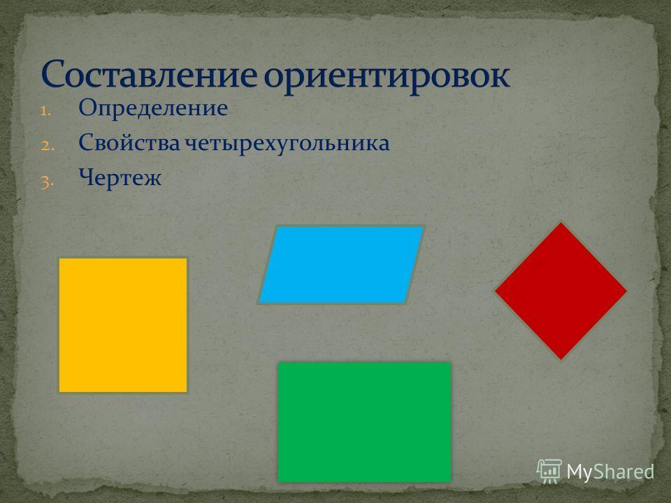 1. Определение 2. Свойства четырехугольника 3. Чертеж