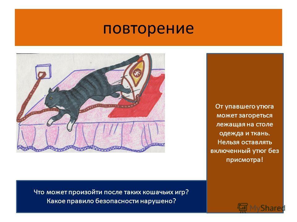 повторение Что может произойти после таких кошачьих игр? Какое правило безопасности нарушено? От упавшего утюга может загореться лежащая на столе одежда и ткань. Нельзя оставлять включенный утюг без присмотра!