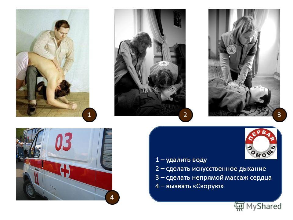 123 4 1 – удалить воду 2 – сделать искусственное дыхание 3 – сделать непрямой массаж сердца 4 – вызвать «Скорую»
