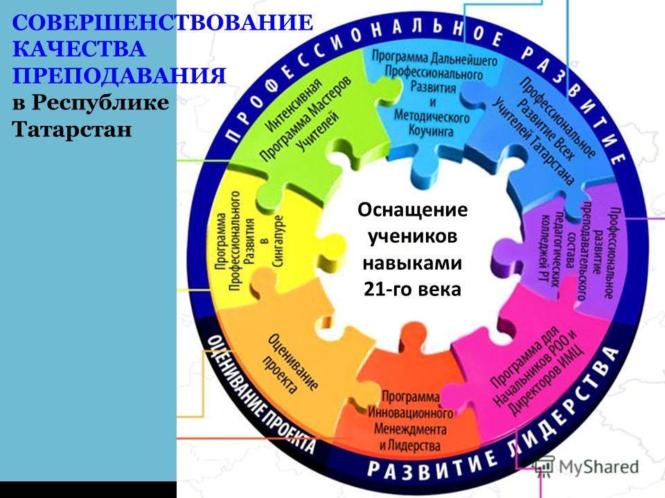 Совершенствование Качества Преподавания в РТ СОВЕРШЕНСТВОВАНИЕ КАЧЕСТВА ПРЕПОДАВАНИЯ в Республике Татарстан Оснащение учеников навыками 21-го века