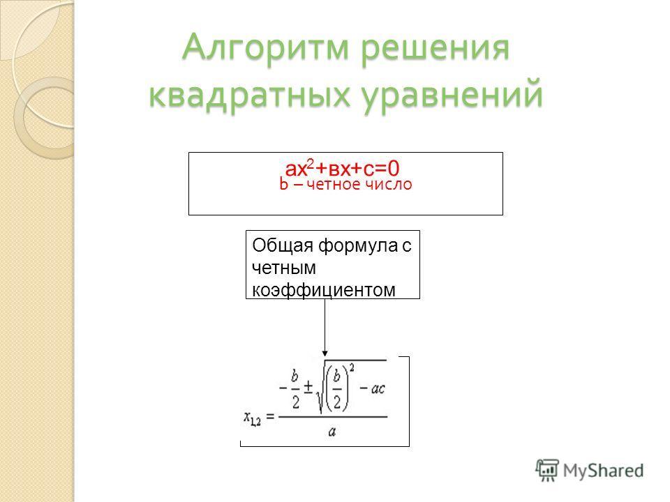 b – четное число ах 2 +вх+с=0 Общая формула с четным коэффициентом Алгоритм решения квадратных уравнений