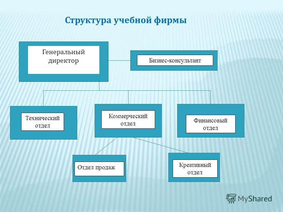 Структура учебной фирмы Генеральный директор Бизнес-консультант Коммерческий отдел Финансовый отдел Технический отдел Отдел продаж Креативный отдел