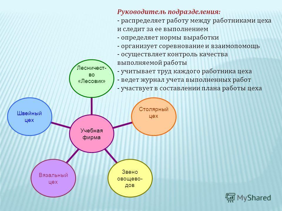 Руководитель подразделения : - распределяет работу между работниками цеха и следит за ее выполнением - определяет нормы выработки - организует соревнование и взаимопомощь - осуществляет контроль качества выполняемой работы - учитывает труд каждого ра