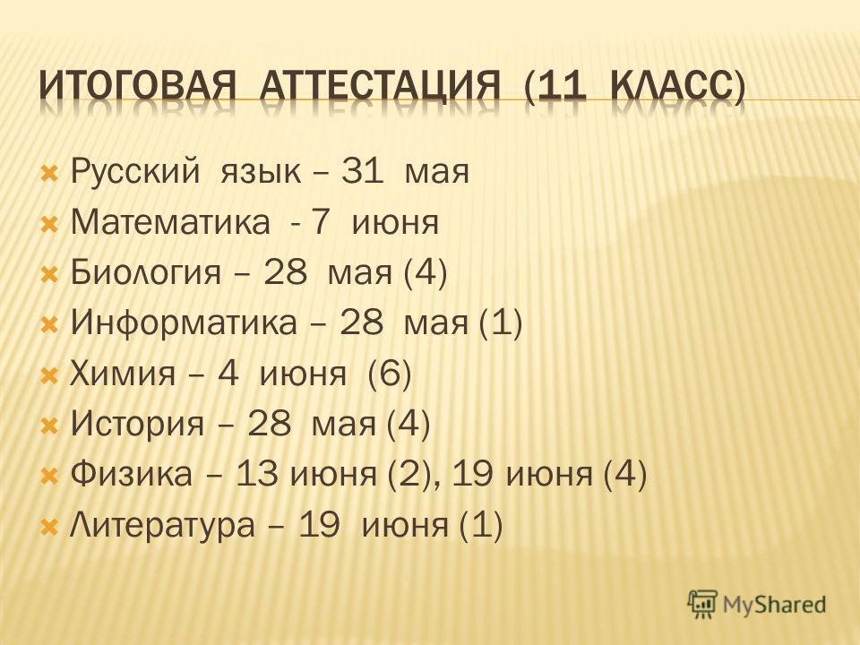 Русский язык – 31 мая Математика - 7 июня Биология – 28 мая (4) Информатика – 28 мая (1) Химия – 4 июня (6) История – 28 мая (4) Физика – 13 июня (2), 19 июня (4) Литература – 19 июня (1)